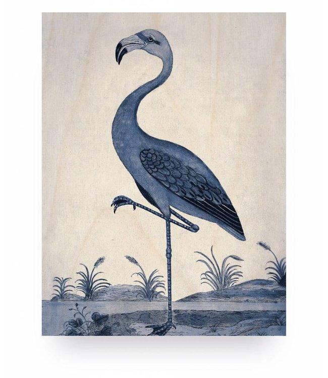 Holzbilder, Royal Blau Flamingo, S, 45 x 60 cm
