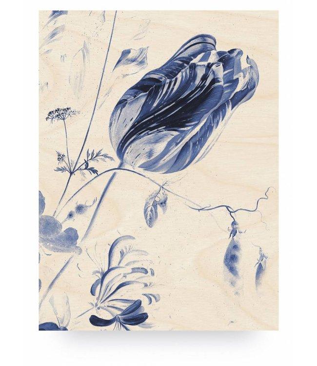Holzbilder, Royal Blau Flowers 1, L, 75 x 100 cm