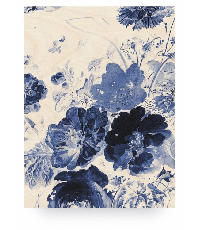 Holzbilder, Royal Blau Flowers 3, L, 75 x 100 cm