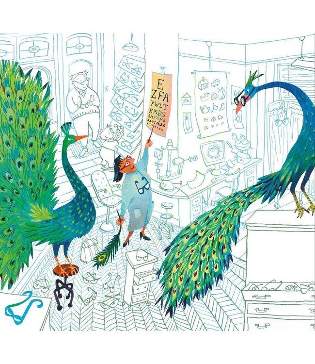 Alice Hoogstad Fototapete für Kinderzimmer Green Peacocks, 292.2 x 280 cm