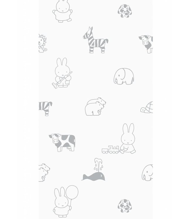 Dick Bruna Miffy tapete Animals, Gris, 97.4 x 280 cm