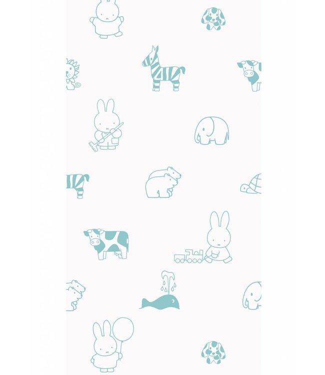 Dick Bruna Miffy tapete Animals, Mint, 97.4 x 280 cm