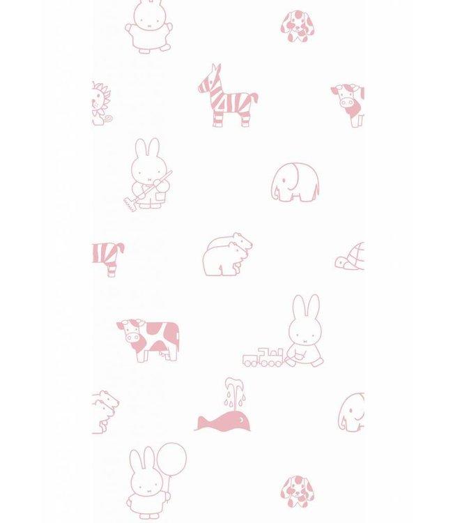Dick Bruna Miffy tapete Animals, Rosa, 97.4 x 280 cm