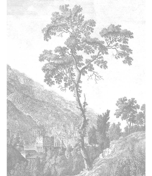 Tapetenpaneel Engraved Tree, 142.5 x 180 cm