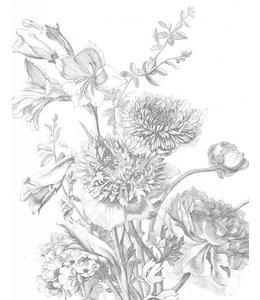 Tapetenpaneel Engraved Flowers