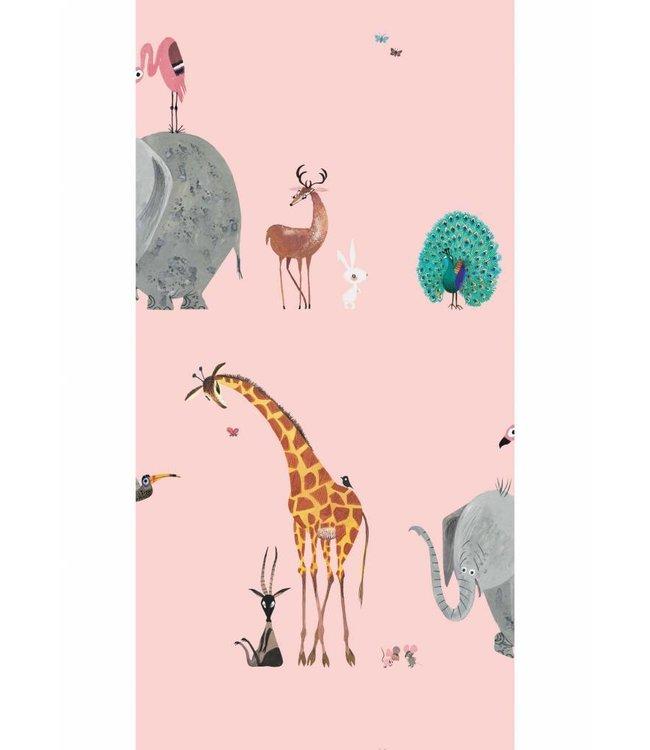 Fiep Westendorp Tapete für Kinderzimmer Animal Mix, Rosa, 97.4 x 280 cm