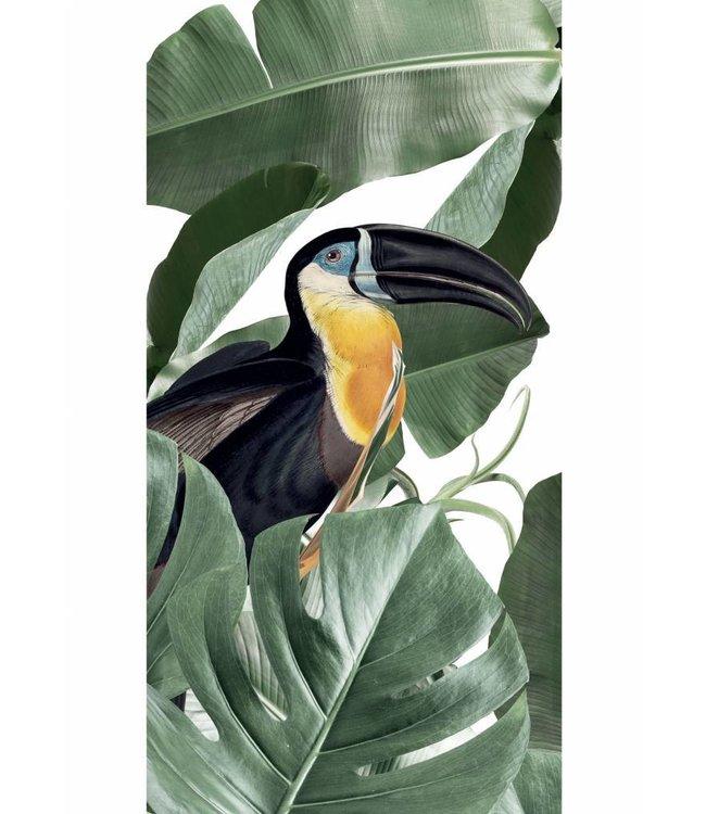 Tapete Botanical Birds, Weiss, 97.4 x 280 cm