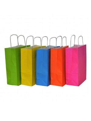 50x Papieren tassen assorti vrolijke kleuren 18x08x24cm