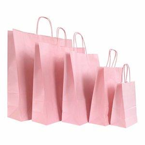 Levering uit voorraad 50x Papieren tassen Zacht Roze in verschillende formaten