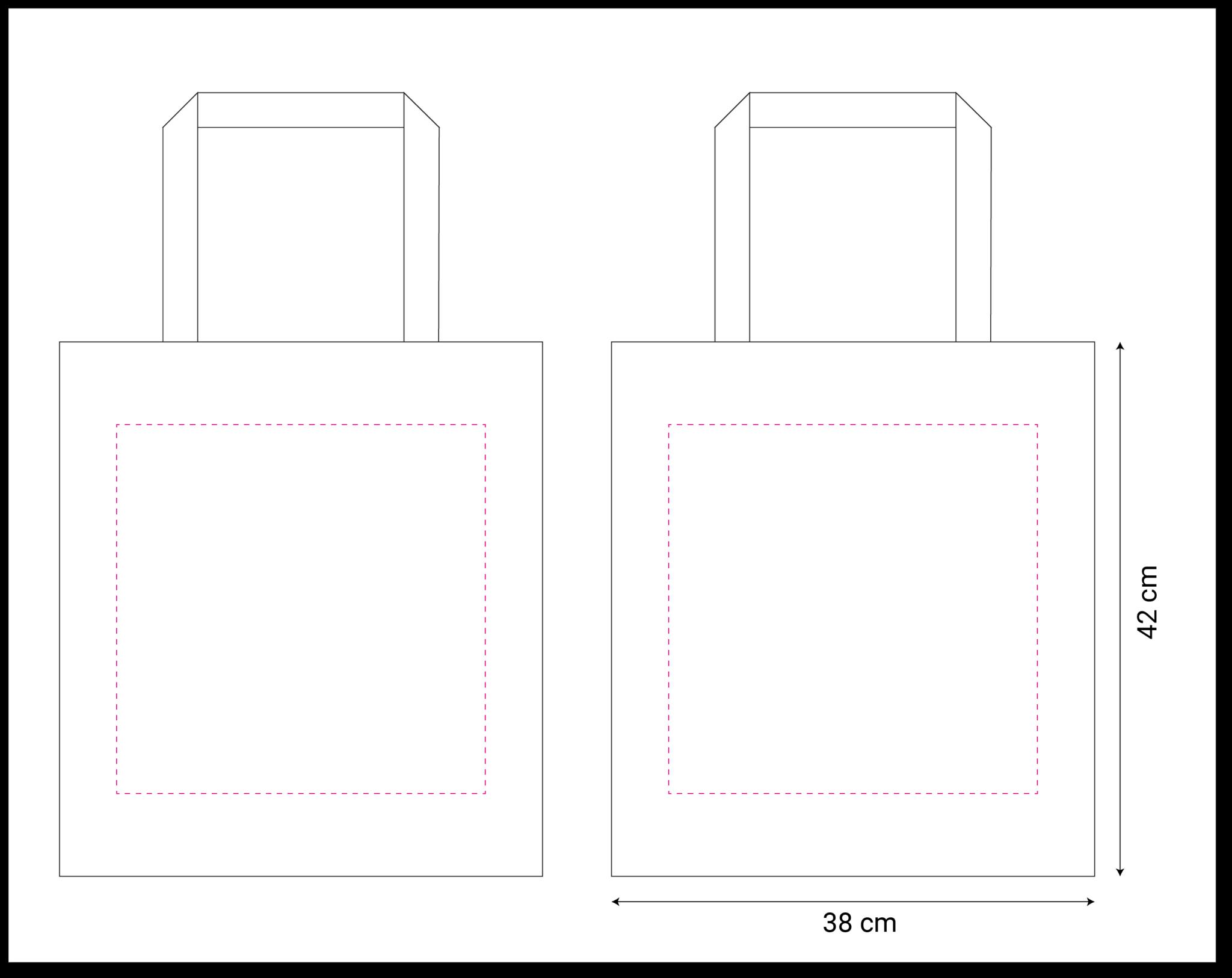 tekening canvas tas