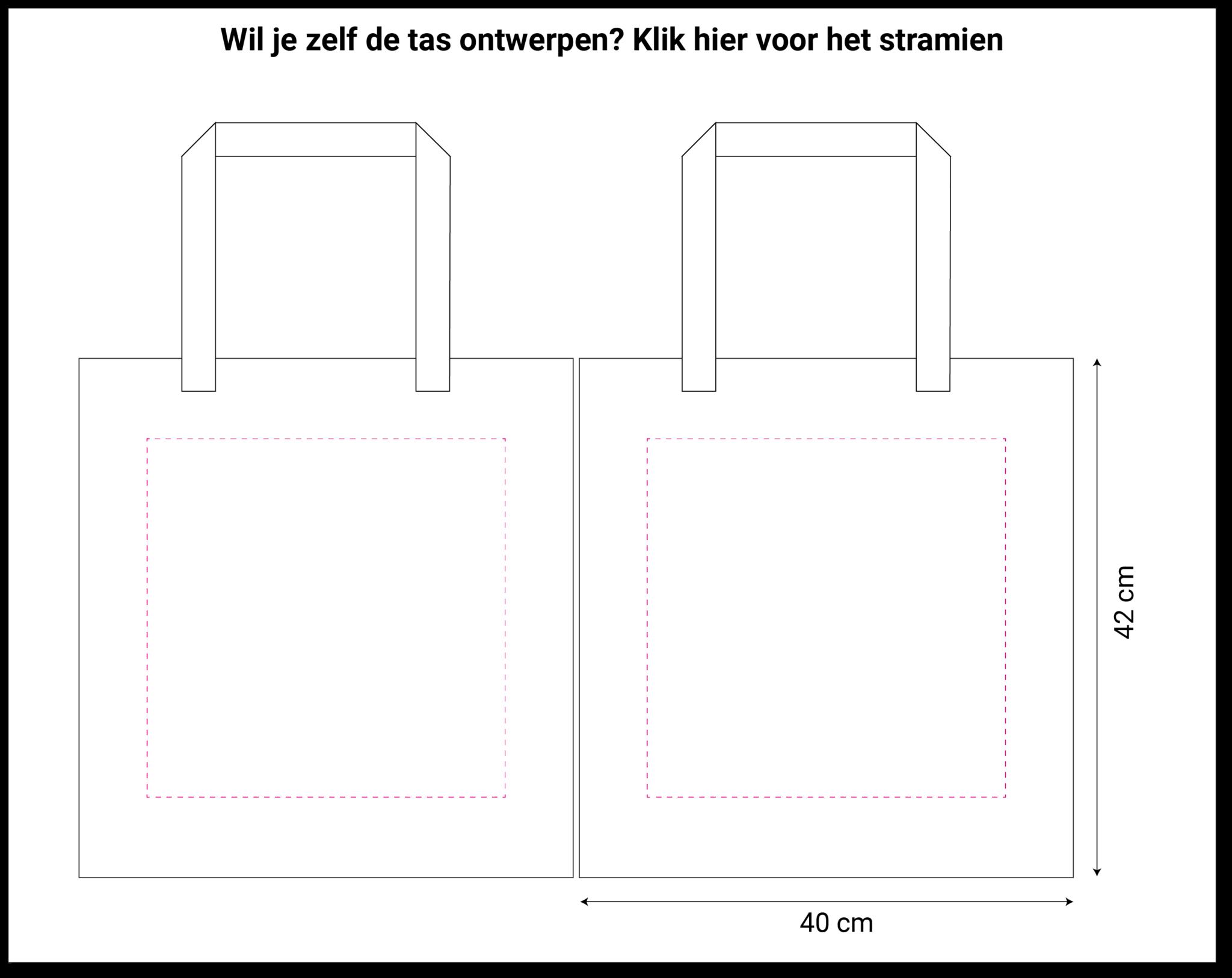 tekening rode non woven shopper 40x9x42cm