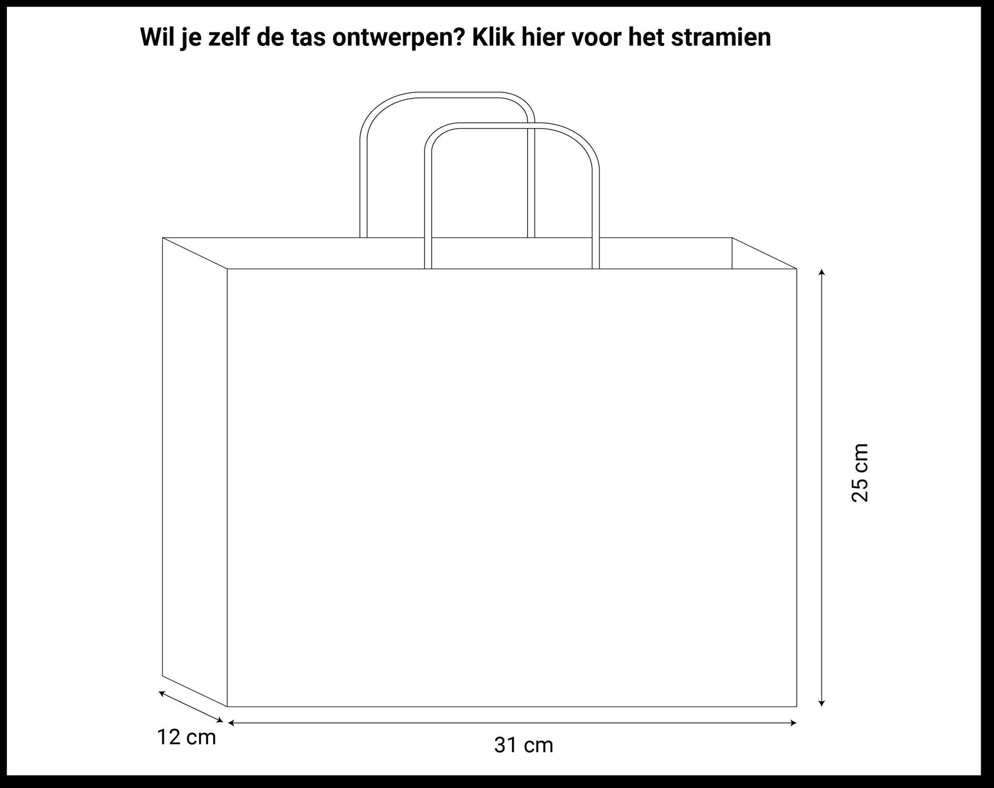 maatvoering papieren tassen 31x12x25cm