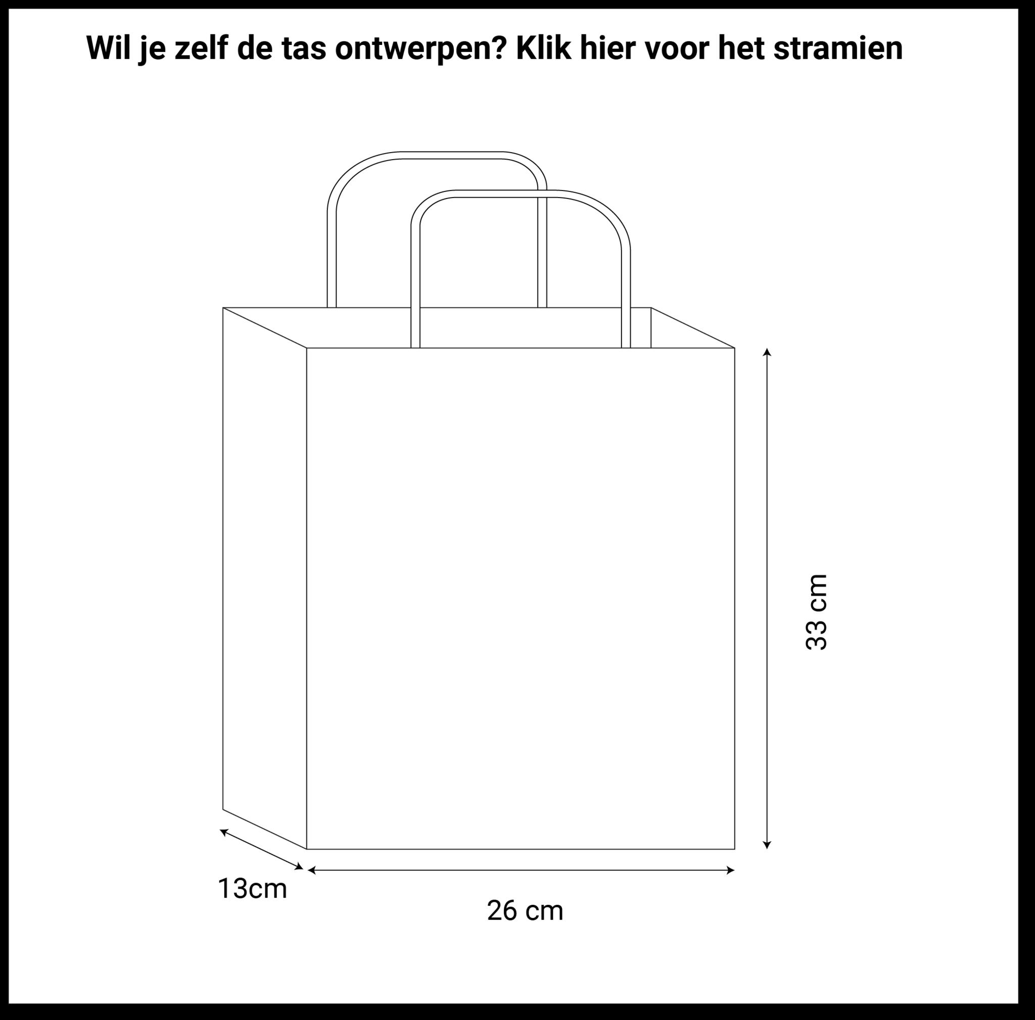 maatvoering basic papieren tassen 26x13x33cm