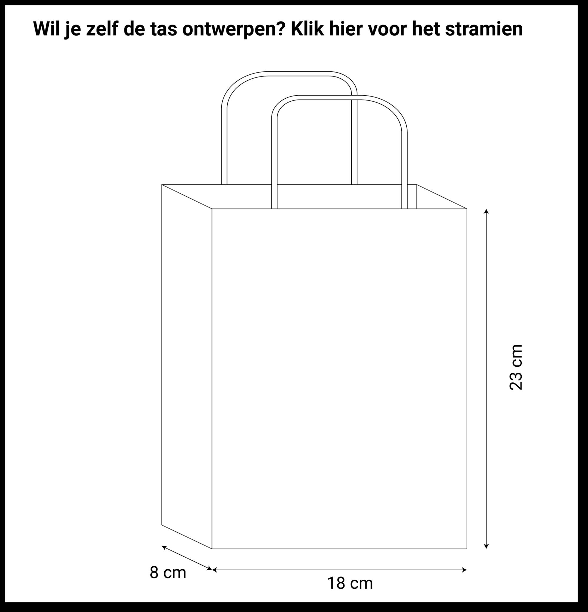 maatvoering basic papieren tassen 18x8x23