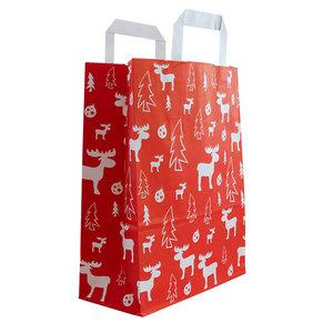 Levering uit voorraad 50x papieren Kersttassen Rood/wit A4