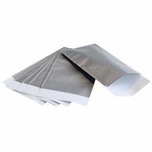 Levering uit voorraad 200x papieren zakjes Zilver 7x13cm