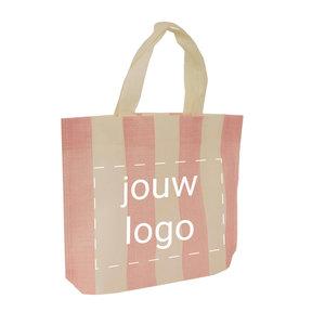 Non woven shopper Roze strepen