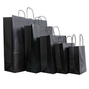 Levering uit voorraad 50x papieren tassen Zwart in diverse formaten