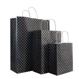 Levering uit voorraad 50x papieren tassen zwart met witte stippen