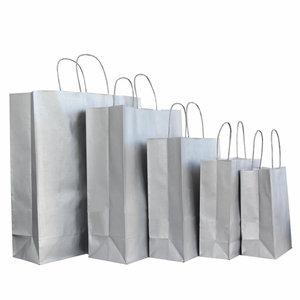 Levering uit voorraad 50x papieren tasjes Zilver in diverse formaten