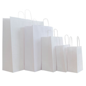Levering uit voorraad 50x papieren tassen Wit in diverse formaten