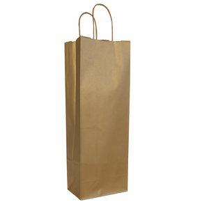 50x Wijnfles tassen goud 14+8,5x39,5cm