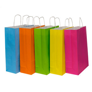 50x Papieren draagtassen assorti vrolijke kleuren 32x12x41cm