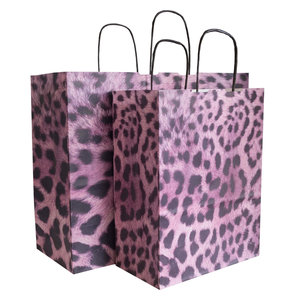 50x papieren tassen met tijgerprint paars-zwart