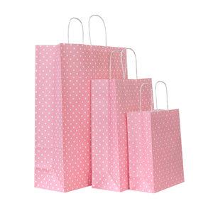 Levering uit voorraad 50x papieren tassen roze met witte stippen