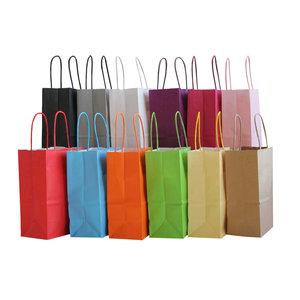 Levering uit voorraad 50x Papieren tassen Extra klein 14x8x21,5cm