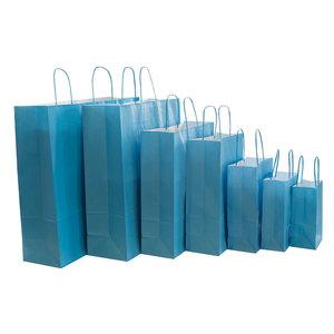 Levering uit voorraad 50x Papieren tassen turquoise blauw in verschillende formaten