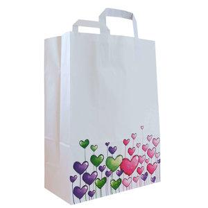 """Levering uit voorraad 50x papieren tassen """"Hartjes"""" 26x12x35cm"""