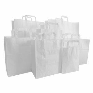 Levering uit voorraad 50x papieren tassen met plat handvat wit
