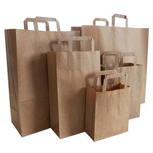 Levering uit voorraad 50x papieren tassen met plat handvat bruin
