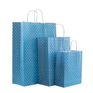 Levering uit voorraad 50x papieren tassen blauw met witte stippen