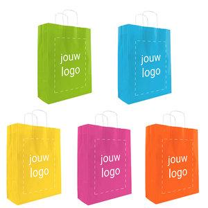 Levertijd ca. 2 weken Papieren tassen A3 Vrolijke kleuren met 1 of 2 kleuren bedrukt