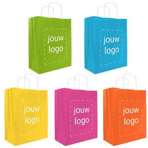 Levertijd ca. 2 weken Papieren tassen A4 Vrolijke kleuren met 1 of 2 kleuren bedrukt