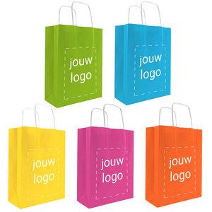 Levertijd ca. 2 weken Papieren tassen A5 Vrolijke kleuren met 1 of 2 kleuren bedrukt