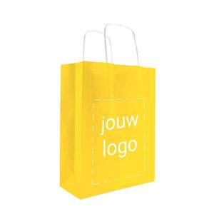 Levertijd ca. 2 weken Papieren tassen A5 Geel met 1 of 2 kleuren bedrukt