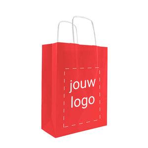 Levertijd ca. 2 weken Papieren tassen A5 Rood met 1 of 2 kleuren bedrukt