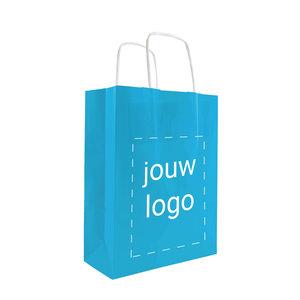 Levertijd ca. 2 weken Papieren tassen A5 Turquoise met 1 of 2 kleuren bedrukt