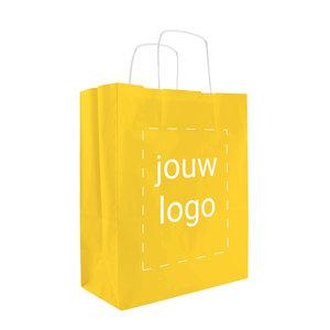 Levertijd ca. 2 weken Papieren tassen A4 Geel met 1 of 2 kleuren bedrukt