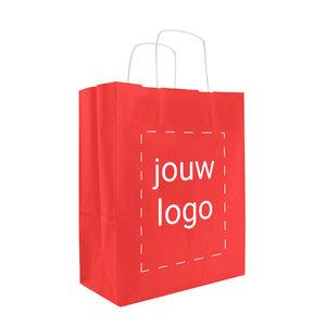 Levertijd ca. 2 weken Papieren tassen A4 Rood met 1 of 2 kleuren bedrukt