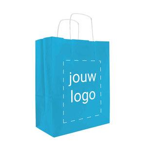 Levertijd ca. 2 weken Papieren tassen A4 Turquoise met 1 of 2 kleuren bedrukt
