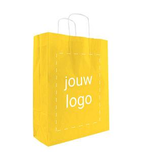 Levertijd ca. 2 weken Papieren tassen A3 Geel met 1 of 2 kleuren bedrukt