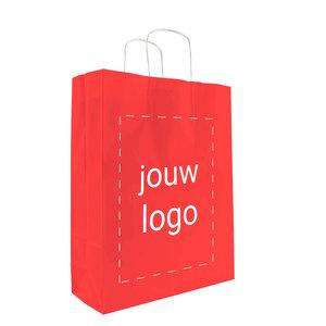 Levertijd ca. 2 weken Papieren tassen A3 Rood met 1 of 2 kleuren bedrukt