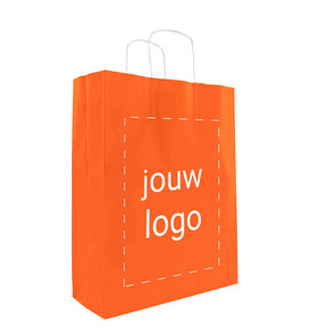 Levertijd ca. 2 weken Papieren tassen A3 Oranje met 1 of 2 kleuren bedrukt