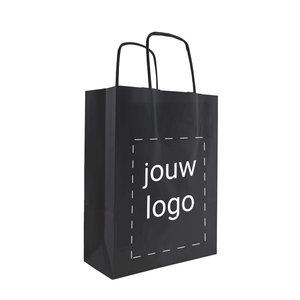 Levertijd ca. 2 weken Papieren tassen A5 Zwart met 1 of 2 kleuren bedrukt