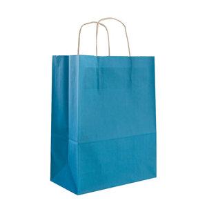 Levering uit voorraad 50x papieren tassen blauw (turquoise) in diverse formaten