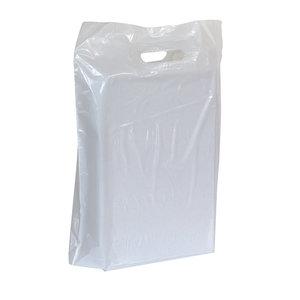 250x Plastic tassen 60x51+2x4cm wit